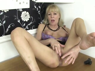 blonde granny in black stockings private elaine is masturbating while at work tube